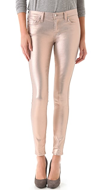 7 For All Mankind Coated Skinny Jeans in Liquid Metallic