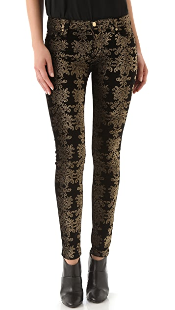 7 For All Mankind Brocade Foil Skinny Velvet Pants