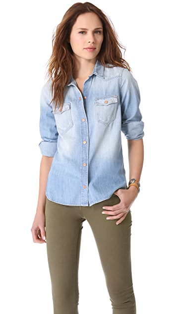 7 For All Mankind Destroyed Denim Shirt