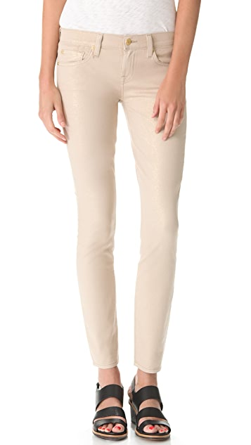 7 For All Mankind Metallic Coated Skinny Jeans