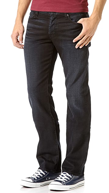 7 For All Mankind Standard Black Sprayed Stretch Jeans