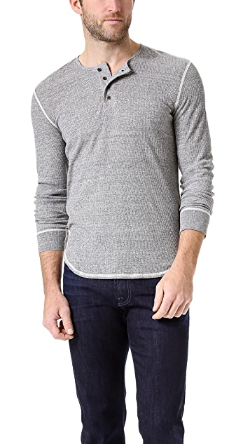 7 For All Mankind Slub Ribbed Jersey Henley