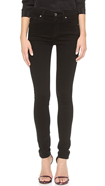 7 For All Mankind The High Waist Slim Illusion Luxe Skinny Jeans - Slim Illusion Luxe Black