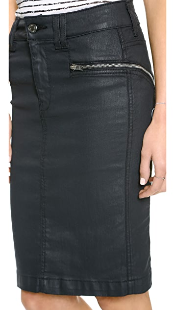 7 For All Mankind High Waisted Pencil Skirt with Zips