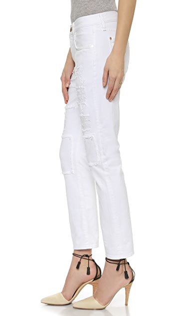 7 For All Mankind Relaxed Destroyed Skinny Jeans with Patches