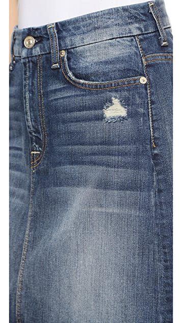 7 For All Mankind A Line Destroyed Miniskirt