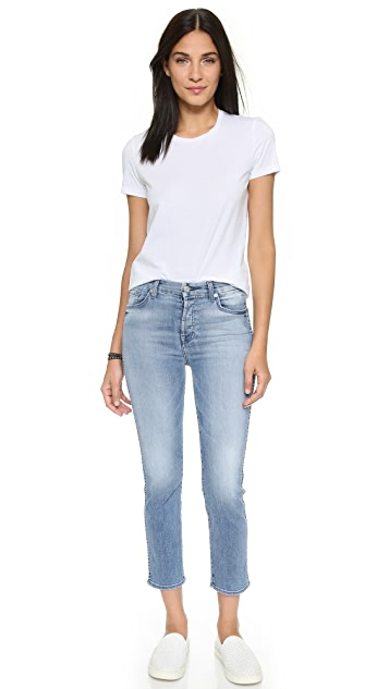 7 for all mankind cropped high waisted straight leg jeans