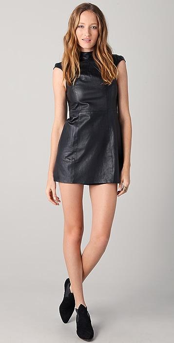 Shakuhachi Leather Cap Sleeve Dress