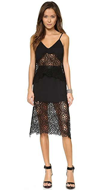 Shakuhachi Honey Comb Lace Midi Skirt