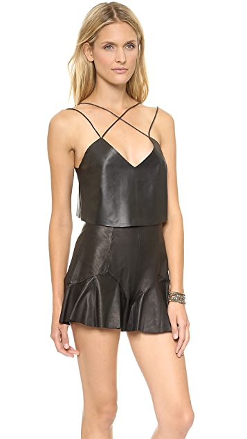 Shakuhachi Strappy Leather Crop Top