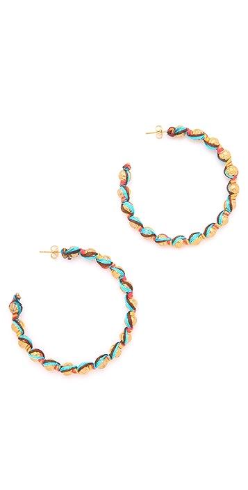 Shashi Rosanna Gold Bead Hoop Earrings