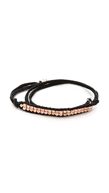 Shashi Nugget Leather Wrap Bracelet