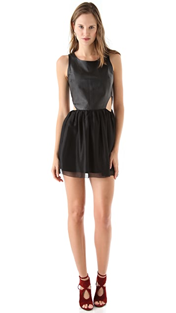 Sheri Bodell Leather Bodice Mini Dress