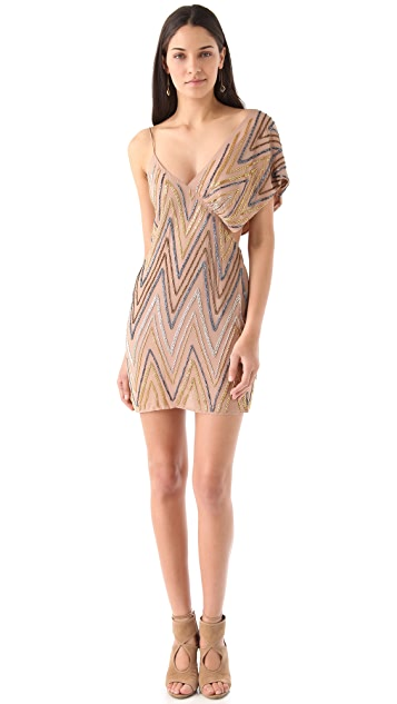 Sheri Bodell Shift Dress with Draped Shoulder