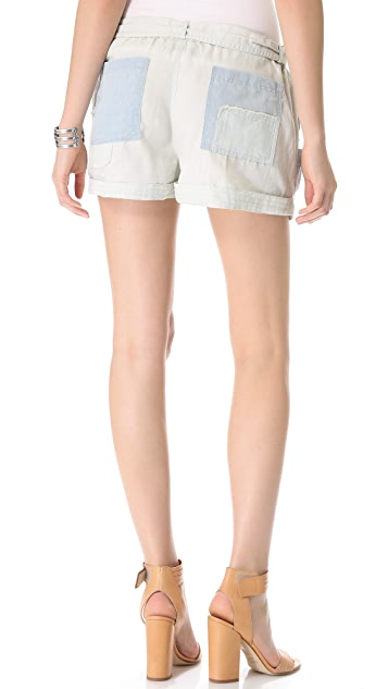 Shona Joy Chambray Patchwork Shorts