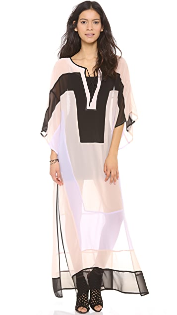 Shona Joy Colorblock Caftan Maxi Dress