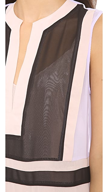 Shona Joy Colorblock Panel Caftan Dress