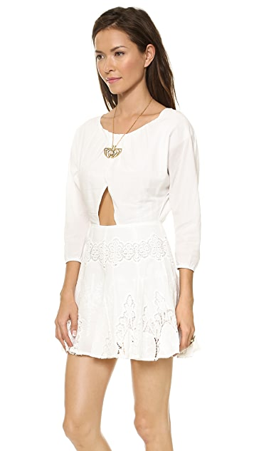 6 Shore Road White Flower Lace Cutout Mini Dress