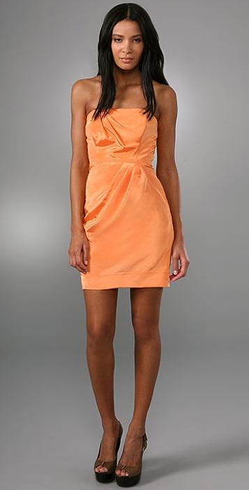 Shoshanna Pleat Strapless Dress