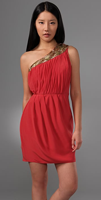 Shoshanna One Shoulder Draped Dress