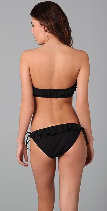 Shoshanna Textured Solid Ruffle Bikini Top