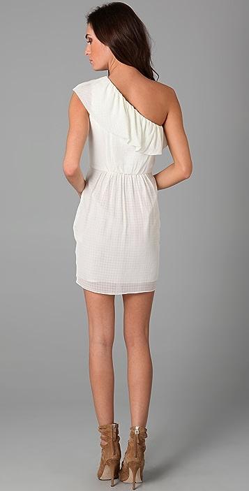 Shoshanna Ruffle One Shoulder Dress