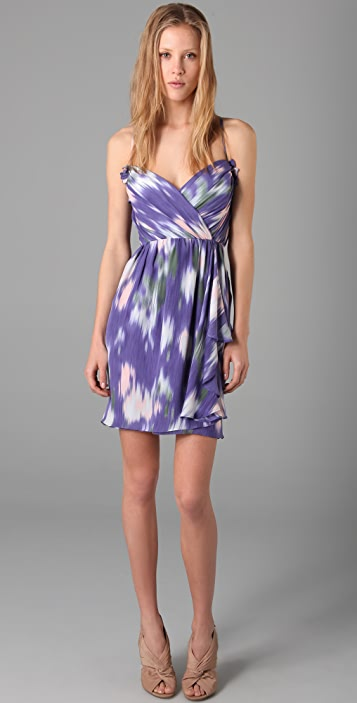 Shoshanna Ruffle Front Print Dress