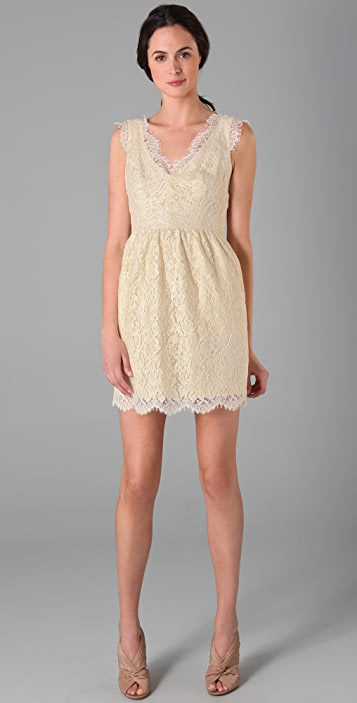 Shoshanna Scallop Lace Sheath Dress