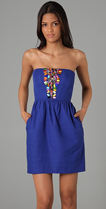 Shoshanna Beaded Strapless Dress