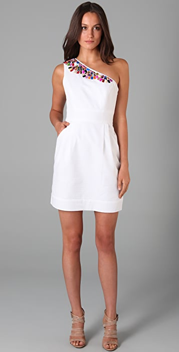 Shoshanna Beaded One Shoulder Dress