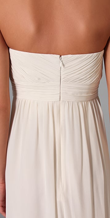 Shoshanna Beaded Maxi Strapless Dress