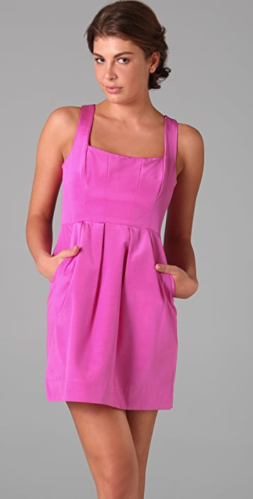 Shoshanna Seamed Bodice Tank Dress