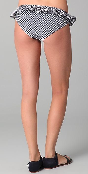 Shoshanna Gingham Ruffle Bikini Briefs