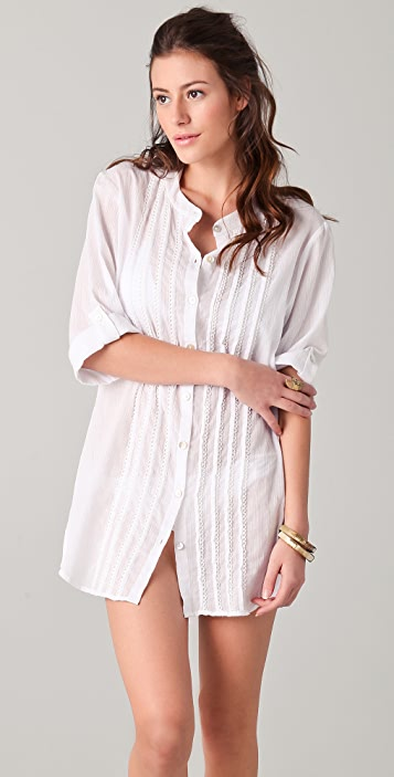 Shoshanna Oversized Button Down Cover Up