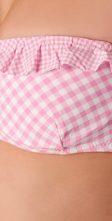 Shoshanna Gingham Ruffle Bandeau Bikini Top