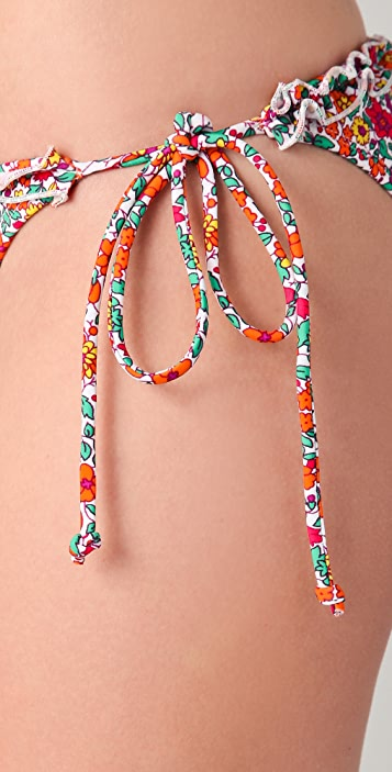 Shoshanna Tulum Garden Ruffle String Bikini Bottoms
