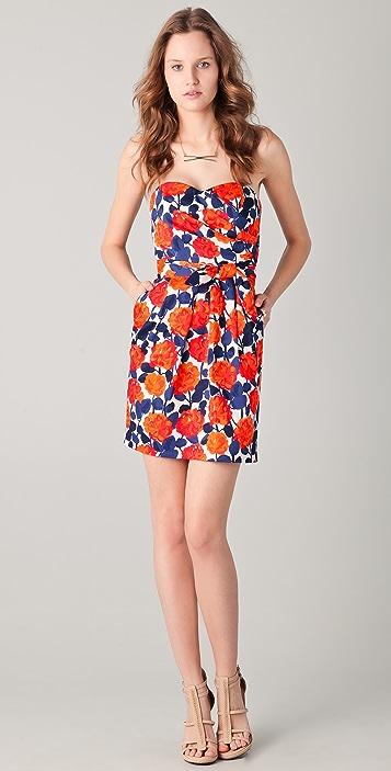 Shoshanna Sylvie Tunisia Floral Strapless Dress