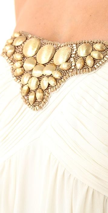Shoshanna Beaded Tori Strapless Gown
