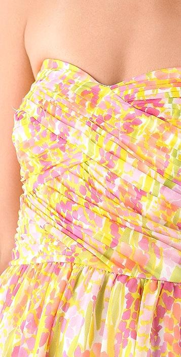 Shoshanna Zoe Garden Print Strapless Dress