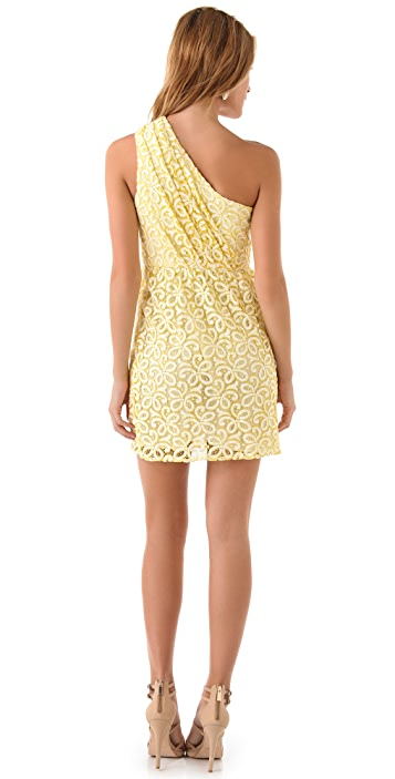 Shoshanna Lace Alexis One Shoulder Dress