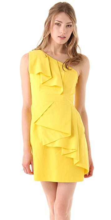 Shoshanna Sadie One Shoulder Ruffle Dress