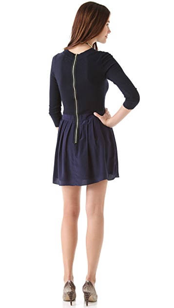 Shoshanna Combo Pleated Sweater Dress