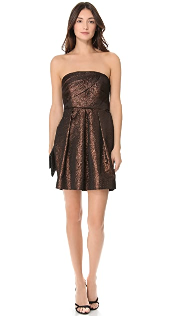 Shoshanna Leora Strapless Metallic Dress