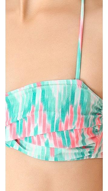 Shoshanna Cascade Ikat Twist Bandeau Bikini Top