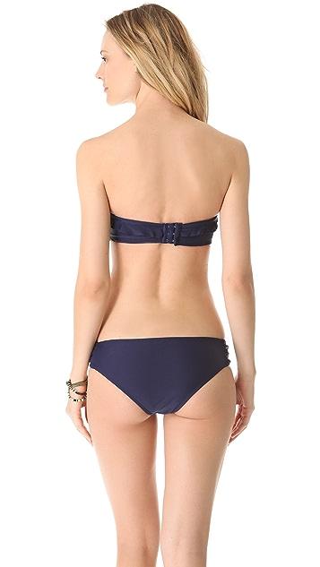 Shoshanna Navy Ruffle Bikini Top