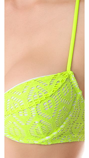 Shoshanna Neon Yellow Crochet Halter Bikini Top
