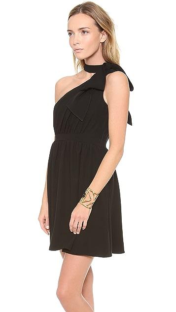 Shoshanna Jillian One Shoulder Bow Dress