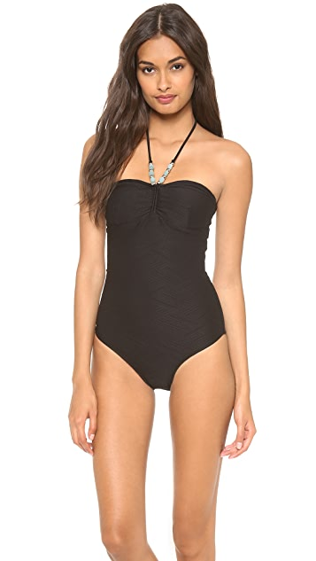 Shoshanna Tropezian Texture One Piece Swimsuit