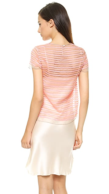 Shoshanna Embroidered Stripe Top
