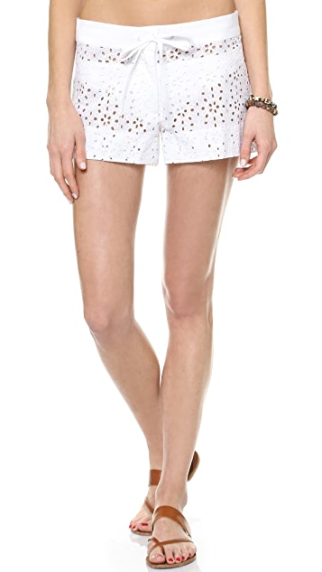 Shoshanna Eyelet Cover Up Shorts